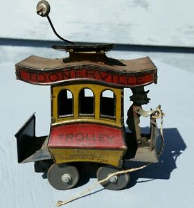 antique 1922 toonerville toy trolley wind up