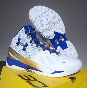 Stephen Curry 2 II Under Armour UA Gold Rings White Blue Size 7-14 SC Dub Nation