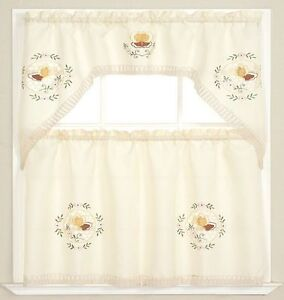 3pc Beige+Embroidered Pink Flower+Golden Butterfly Kitchen/cafe Curtain Swag Set