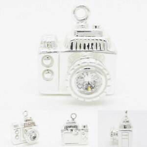 3D Camera CZ Photography 925 Sterling Silver Charm Pendant W Converter or Chain