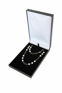 12pcs Black Deluxe Leather Necklace Jewelry Display Box Case 4 34x7 38