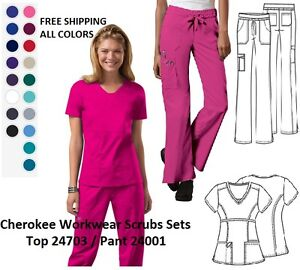 Cherokee Workwear Scrubs Sets (Top 24703  Pant 24001) All Colors