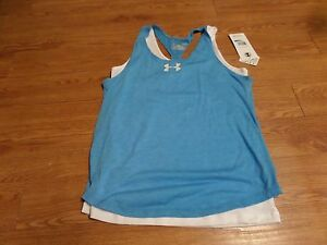 bnwt-girls  sleeveless layered under armour shirt-ylg-loose fit -blue7 white