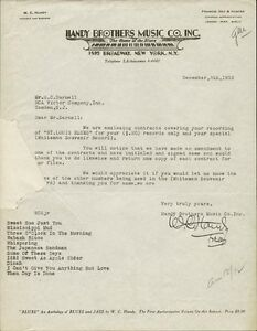 W.C. HANDY - TYPED LETTER SIGNED 12081932
