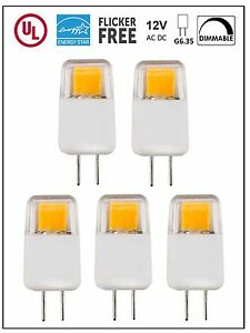 CBConcept UL-Listed 12V G6.35 LED Bulb, 5-Pack, 1.7W, Dimmable, 220lm,Warm White
