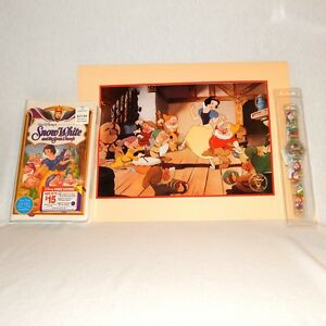 Disney Snow White and Seven Dwarfs Masterpiece 1994 VHS Lithograph and Watch