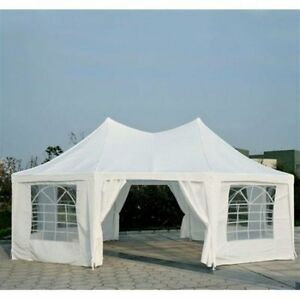 Outsunny 22' x 16' Large Octagon 8-Wall Party Tent White Outdoor Sporting Goods