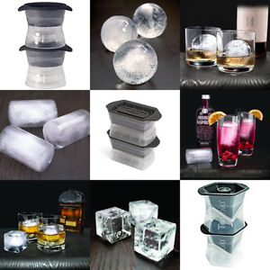 Set DIY Silicone Whiskey Cocktails Ice Ball Cube Maker Tray Mold Mould Party Bar