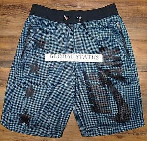 NIKE MENS AIR PIVOT V3 RETRO STAR BLACK OMEGA BLUE MESH SHORTS 778060 013 MEDIUM