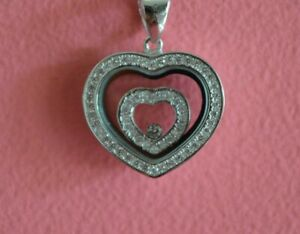 925 Sterling Silver Love Heart Movable CZ Charm Necklace - Heart CZ Necklace