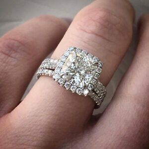 Charming 2.20 Ct Cushion Cut Diamond Halo 3-Row Engagement Ring GVS1 EGL 14K WG