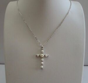 925 STERLING SILVER PEARL CROSS NECKLACE PENDANT W WHITE PEARLS 18 INCH