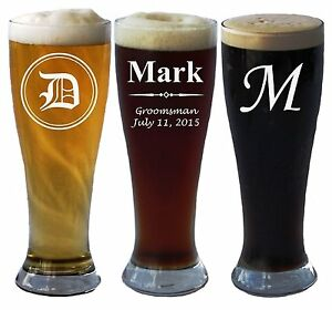Personalized Pilsner Beer Glass 16 Ounce Wedding Party Groomsmen Father's Day