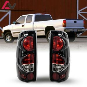For Silverado Sierra 99 03 Gloss Black Clear Altezza Tail Lights Set Replacement