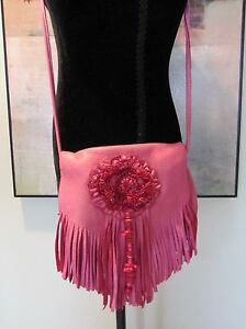 VTG 70's Artisan Made Pink Leather Fringed Hippie Crossbody Bag