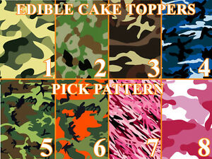 CAMOUFLAGE CAMO MILITARY Image Edible Cake toppers cupcakes strips and more...