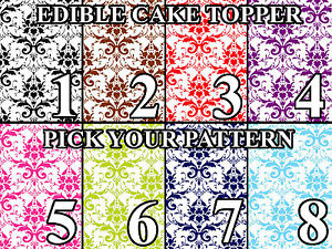 DAMASK PATTERN COLORS Image Edible Cake toppers cupcakes strips and more...