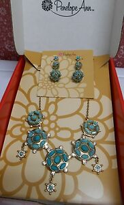 Penelope Ann Basking In Turquoise Necklace and Earrings set
