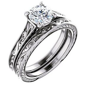1.30 Ct Round Cut Diamond Filigree Design Engagement Ring Set HVS2 EGL 18K WG