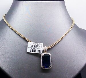 New 10K Yellow Gold Sapphire CharmPendant With 0.15CTDiamond & 26