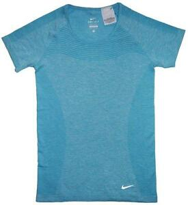 NWT Nike Womens Size S Small Dri Fit Short Sleeve Blue Exercise Running T Shirt