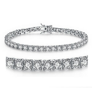925 Solid Sterling Silver Round Cubic Zirconia Women's Tennis Bracelet
