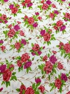 Quilt Fabric Pink Red Flower Floral Print Craft Apparel Upholstery 45quot;W #9967R $6.25
