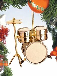 Realistic Gold Drum Set Christmas Ornament 3 Tall by Broadway Gifts