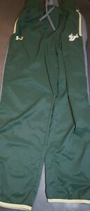 Under Armour USF Polyester Track Pants Womens Size Small S Green Grey Gold Nice!