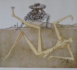SALVADOR DALI THE HEART OF MADNESS DON Quichotte SIGNED HAND NUMBERED ETCHING