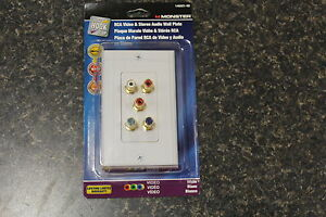 NEW 140021 00 MONSTER RCA VIDEO AND STEREO AUDIO WALL PLATE NEW $11.01