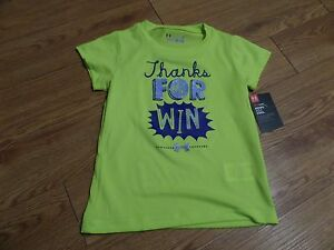 bnwt-girls  short sleeve under armour shirt-size 2t-yellow-thanks for the win