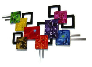 Contemporary Abstract Wall Sculpture Parade of Color Wall Art  65x39 by Art69