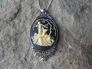 GODDESS DIANA THE HUNTRESS CAMEO NECKLACE DEER 925 PLATED CHAIN UNIQUE $23.95