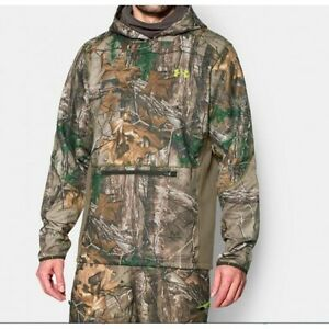 Mens Under Armour Scent Control RealTree Hunting Sweatshirt Hoodie Camo L $99.99