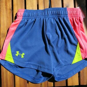 UNDER ARMOUR GIRLS SHORTS ~ SIZE YXS ~ BLUE PINK YELLOW ~ NEW W TAG $23 Retail