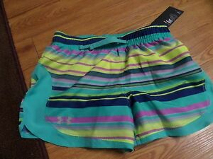 bnwt-girls under armour shorts-size ylg loose fit-striped multi-color-heatgear