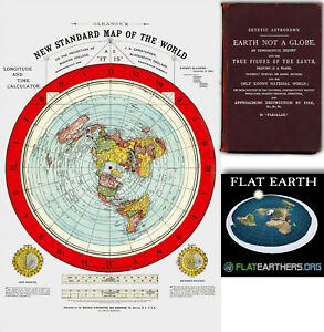 Flat Earth Map Gleason#x27;s New Standard Map Of The World Large 24quot; x 36quot; 1892
