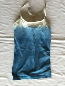 Nike FIT DRY Women's Blue White Cream Athletic Work Out Shirt Tank Top w Bra XS