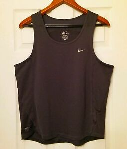 Nike Dri-Fit Women's Large Size Grey Sport Tank Top Shirt Athletic dry fit gear