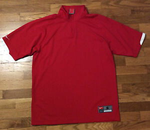 Nike 12 Zip Short Sleeve Red Athletic Fit Dry Shirt Jersey Men's Size S