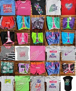 GIRLS SIZE 4 NIKE ~ RUNNING SHORTS ~ T-SHIRTS ~ HUGE LOT ~3 CHOICES ~ up to $228