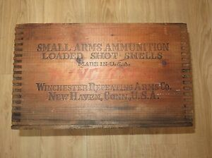VTG WINCHESTER Repeating Arms Dupont Ammo Wooden Shipping Crate Box Dovetailed