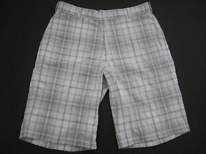 Mens size 33 Nike Golf Tour Performance Dri Fit white plaid shorts