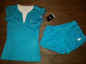 NWT NIKE WOMENS XS TOP SHORTS OUTFIT LOT PURE TENNIS  $90 WORKOUT SET xsmall