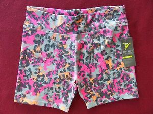 NWT Old Navy Active Go-Dry Girls Fitted Perform Shorts Pink Leopard size XL (14)