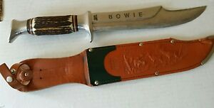Vintage Edge Brand Solingen Germany Bowie Knife 469 Pinned Stag Scales wsheath