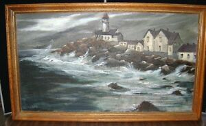 Seascape oil painting canvas artist signed $109.65