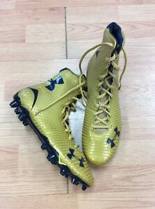 2014 TEAM ISSUED NOTRE DAME FOOTBALL SHAMROCK SERIES UNDER ARMOUR CLEATS SIZE 12