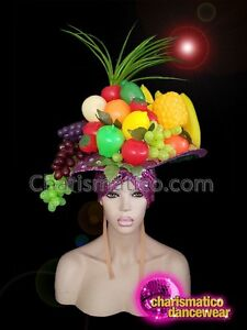 CHARISMATICO Diva plum pink sequinned tropical diva show girl fruit hat